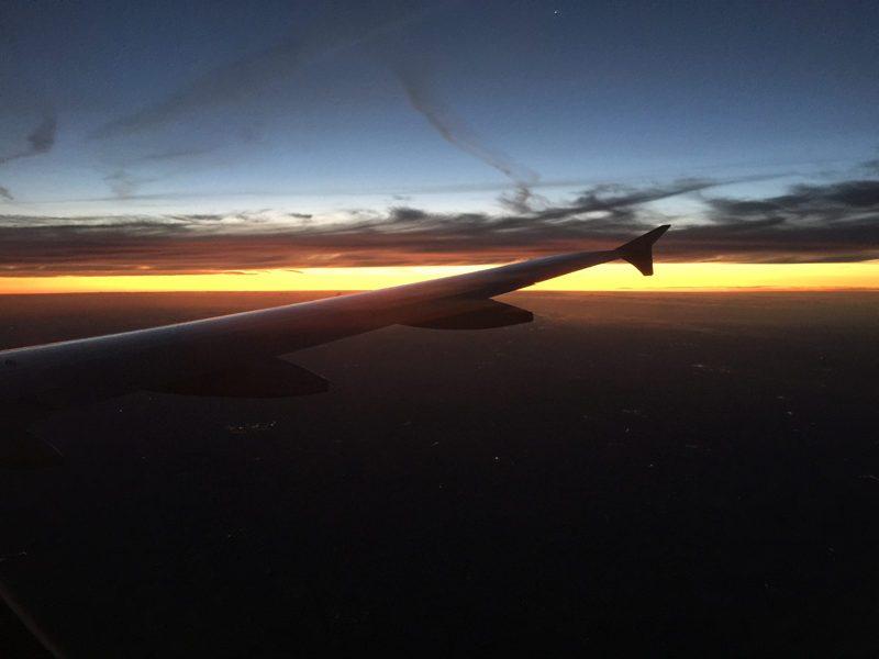 Le lever de soleil durant le vol